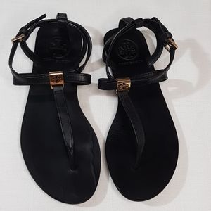 TORY BURCH Black Leather Strapy Thong Sandals Sz5